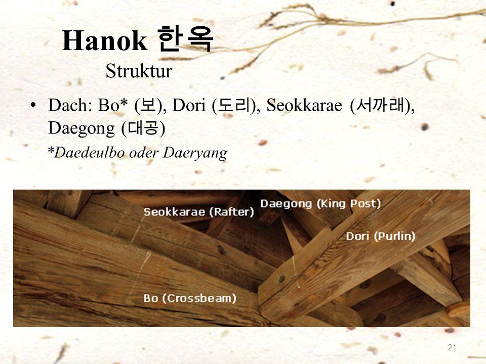 Dach: Bo* ( 보 ), Dori ( 도리 ), Seokkarae ( 서까래 ), Daegong ( 대공 ) *Daedeulbo oder Daeryang Hanok 한옥 Struktur 21