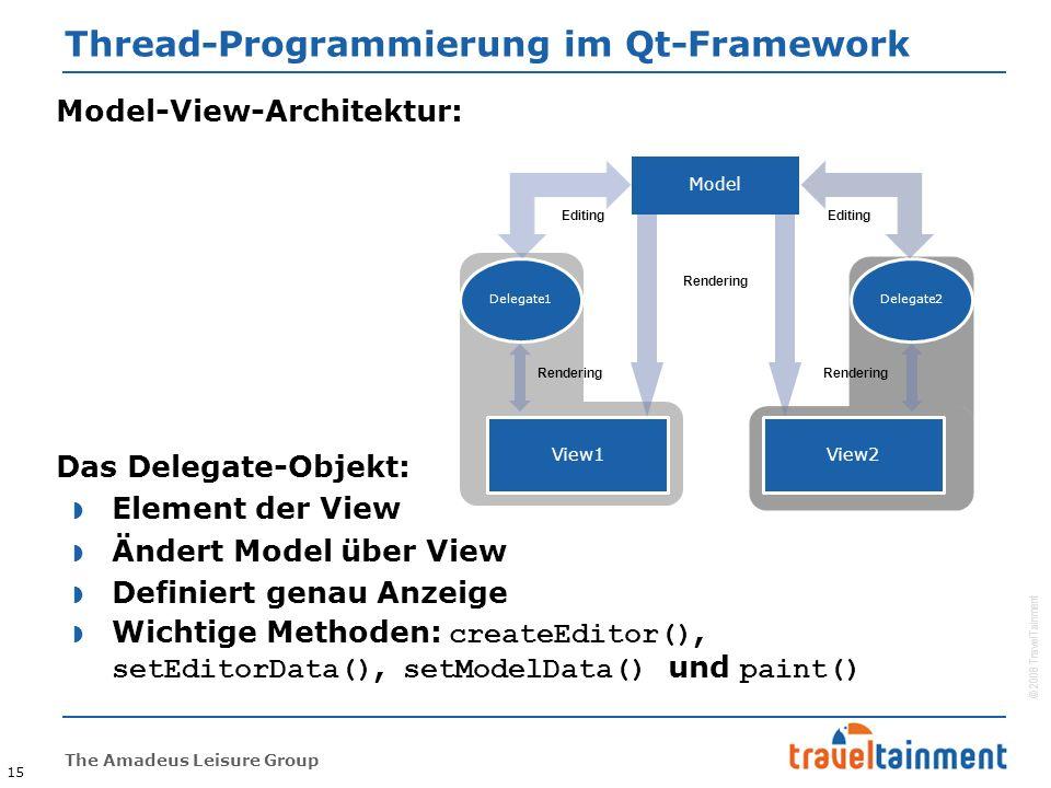 © 2008 TravelTainment The Amadeus Leisure Group Thread-Programmierung im Qt-Framework 15 Model-View-Architektur: Das Delegate-Objekt:  Element der View  Ändert Model über View  Definiert genau Anzeige  Wichtige Methoden: createEditor(), setEditorData(), setModelData() und paint() Model View1 View2 Delegate1Delegate2 Rendering Editing