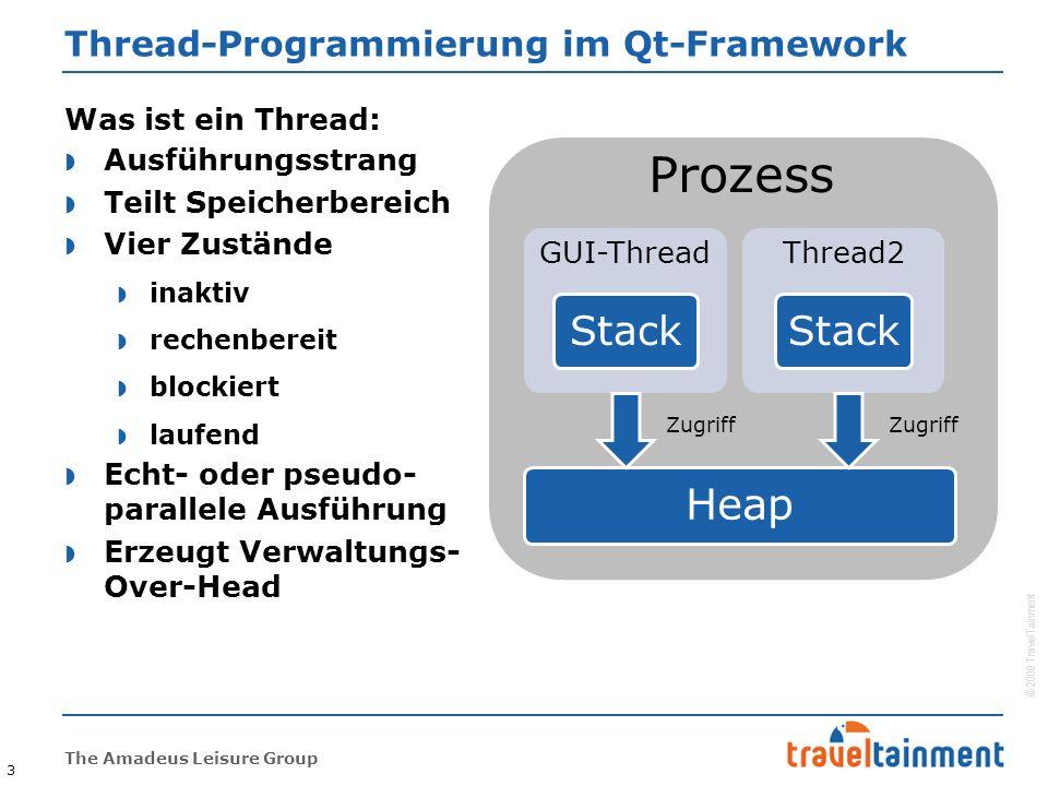 © 2008 TravelTainment The Amadeus Leisure Group Thread-Programmierung im Qt-Framework  Ausführungsstrang  Teilt Speicherbereich  Vier Zustände  inaktiv  rechenbereit  blockiert  laufend  Echt- oder pseudo- parallele Ausführung  Erzeugt Verwaltungs- Over-Head 3 Was ist ein Thread: Prozess GUI-Thread Stack Thread2 Stack Heap Zugriff