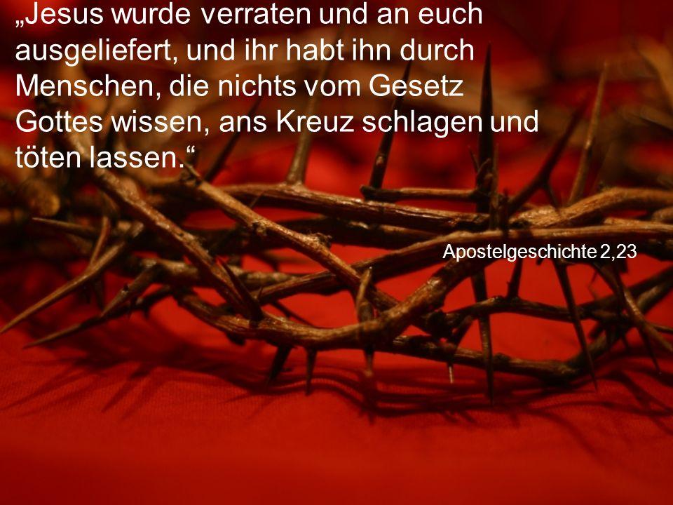 """Apostelgeschichte 2,23 """"Jesus wurde verraten und an euch ausgeliefert, und ihr habt ihn durch Menschen, die nichts vom Gesetz Gottes wissen, ans Kreuz schlagen und töten lassen."""
