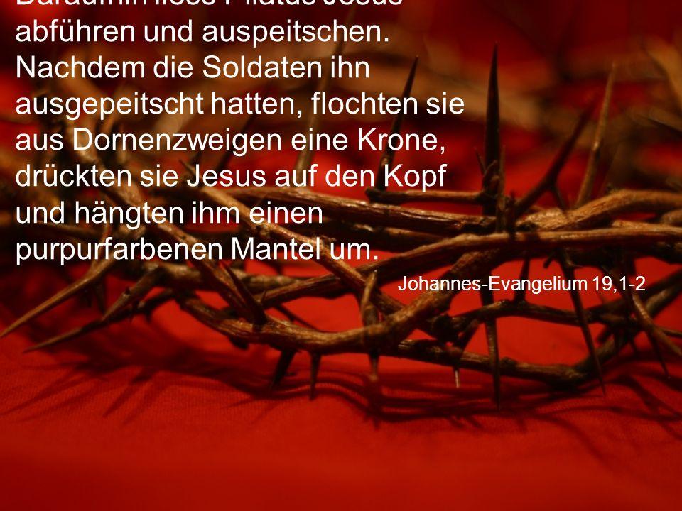 """Johannes-Evangelium 19,3-4 Dann stellten sie sich vor ihn hin, riefen: """"Es lebe der König der Juden! und schlugen ihm dabei ins Gesicht."""