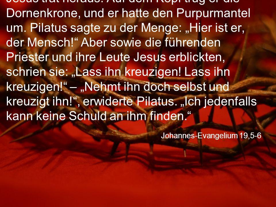 """Johannes-Evangelium 19,7-8 """"Wir haben ein Gesetz , hielten ihm die Juden entgegen, """"und nach diesem Gesetz muss er sterben, weil er behauptet hat, er sei Gottes Sohn. Als Pilatus das hörte, wurde ihm noch unheimlicher zumute."""