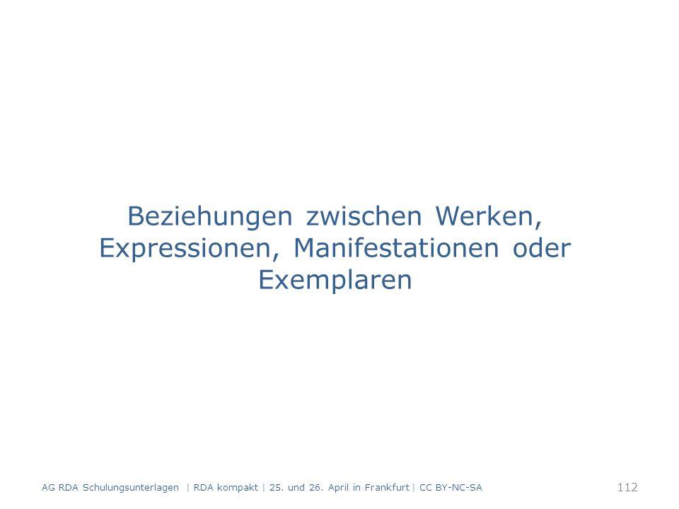 Beziehungen zwischen Werken, Expressionen, Manifestationen oder Exemplaren 112 AG RDA Schulungsunterlagen | RDA kompakt | 25.