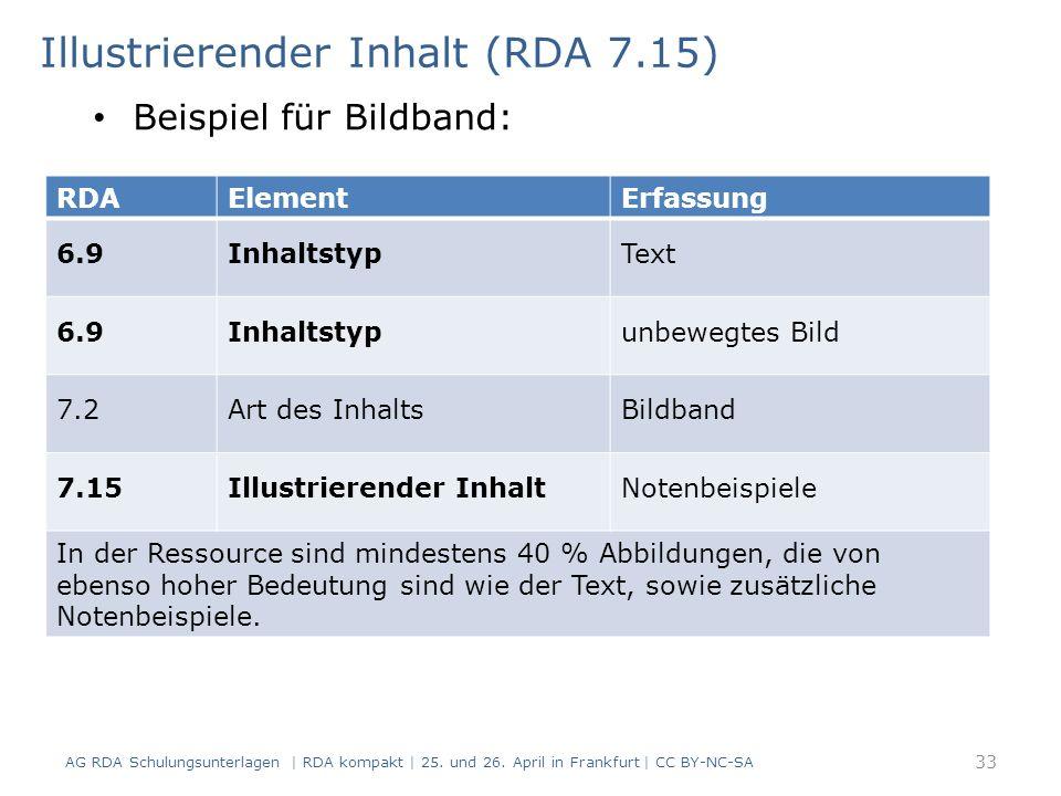 Illustrierender Inhalt (RDA 7.15) RDAElementErfassung 6.9InhaltstypText 6.9Inhaltstypunbewegtes Bild 7.2Art des InhaltsBildband 7.15Illustrierender InhaltNotenbeispiele In der Ressource sind mindestens 40 % Abbildungen, die von ebenso hoher Bedeutung sind wie der Text, sowie zusätzliche Notenbeispiele.