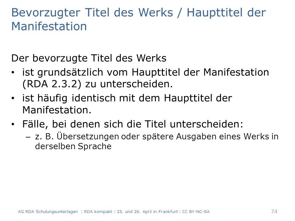 Bevorzugter Titel des Werks / Haupttitel der Manifestation Der bevorzugte Titel des Werks ist grundsätzlich vom Haupttitel der Manifestation (RDA 2.3.2) zu unterscheiden.