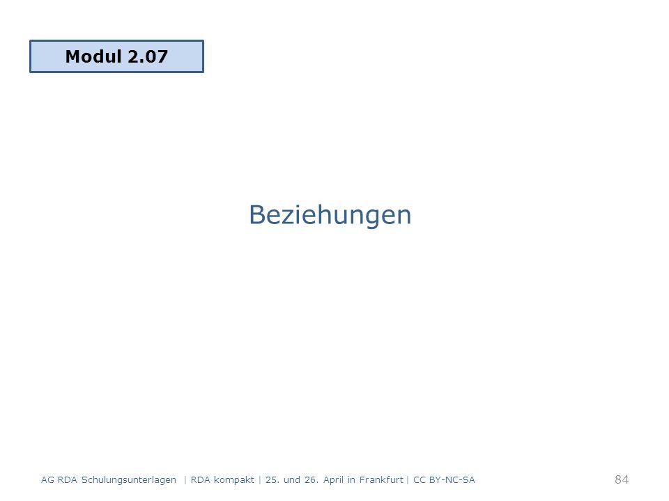 Beziehungen Modul 2.07 84 AG RDA Schulungsunterlagen | RDA kompakt | 25.