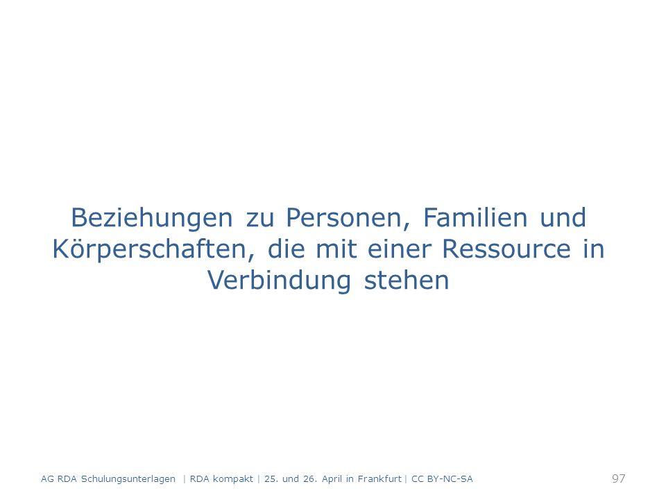 Beziehungen zu Personen, Familien und Körperschaften, die mit einer Ressource in Verbindung stehen 97 AG RDA Schulungsunterlagen | RDA kompakt | 25.