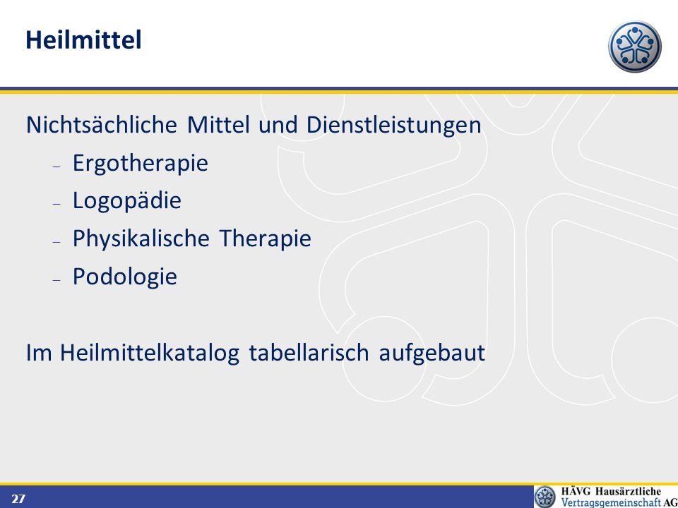27 Nichtsächliche Mittel und Dienstleistungen  Ergotherapie  Logopädie  Physikalische Therapie  Podologie Im Heilmittelkatalog tabellarisch aufgeb