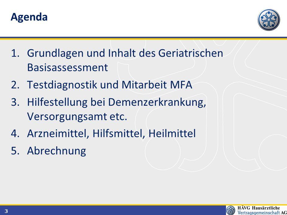 3 1.Grundlagen und Inhalt des Geriatrischen Basisassessment 2.Testdiagnostik und Mitarbeit MFA 3.Hilfestellung bei Demenzerkrankung, Versorgungsamt et