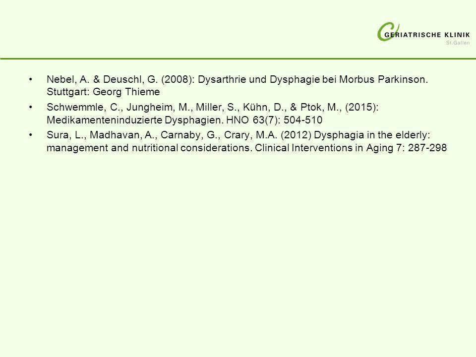 Nebel, A. & Deuschl, G. (2008): Dysarthrie und Dysphagie bei Morbus Parkinson. Stuttgart: Georg Thieme Schwemmle, C., Jungheim, M., Miller, S., Kühn,