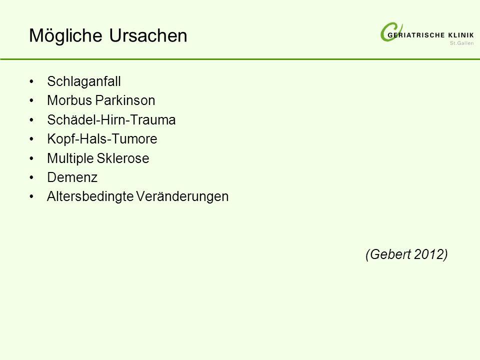 Mögliche Ursachen Schlaganfall Morbus Parkinson Schädel-Hirn-Trauma Kopf-Hals-Tumore Multiple Sklerose Demenz Altersbedingte Veränderungen (Gebert 2012)