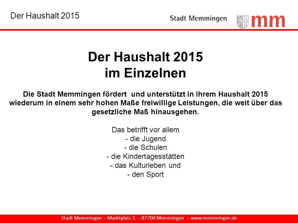 Der Haushalt 2015 im Einzelnen Die Stadt Memmingen fördert und unterstützt in ihrem Haushalt 2015 wiederum in einem sehr hohen Maße freiwillige Leistu