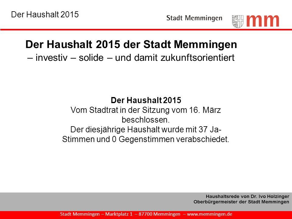 Der Haushalt 2015 Vom Stadtrat in der Sitzung vom 16. März beschlossen. Der diesjährige Haushalt wurde mit 37 Ja- Stimmen und 0 Gegenstimmen verabschi
