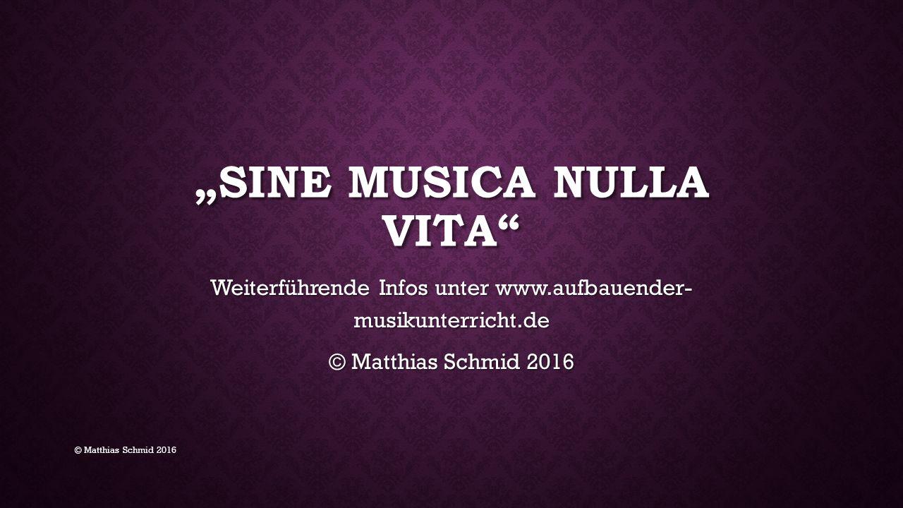 """""""SINE MUSICA NULLA VITA Weiterführende Infos unter www.aufbauender- musikunterricht.de © Matthias Schmid 2016"""