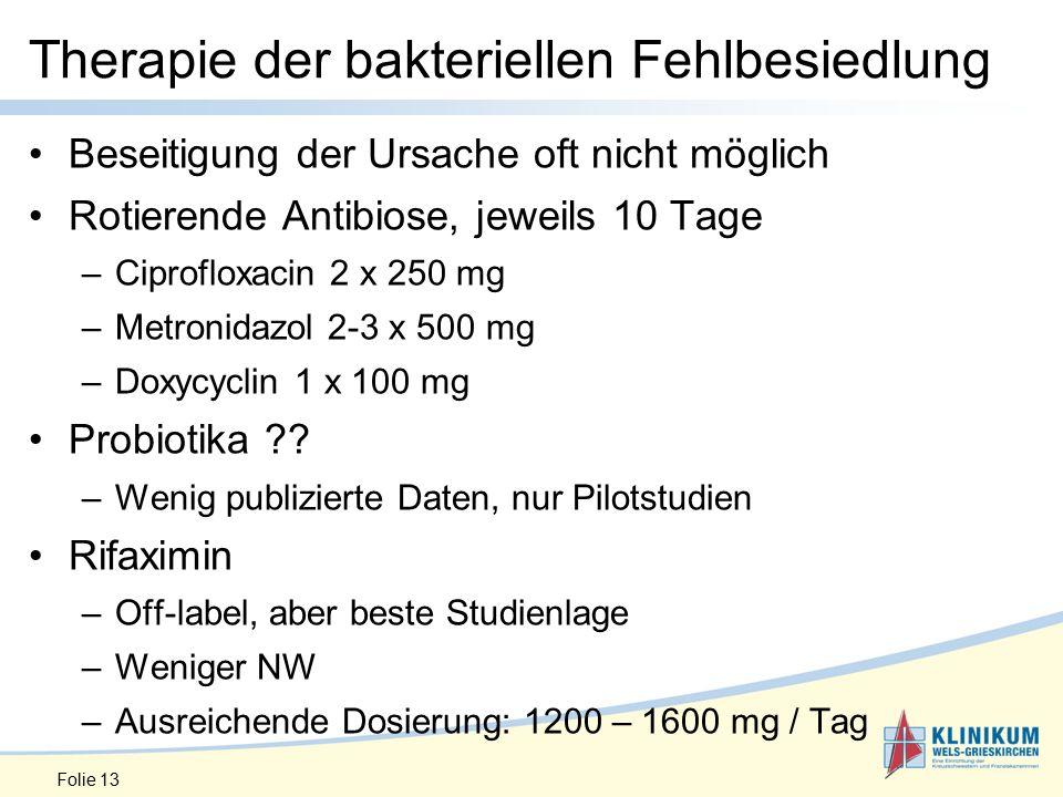 Therapie der bakteriellen Fehlbesiedlung Beseitigung der Ursache oft nicht möglich Rotierende Antibiose, jeweils 10 Tage –Ciprofloxacin 2 x 250 mg –Metronidazol 2-3 x 500 mg –Doxycyclin 1 x 100 mg Probiotika ?.
