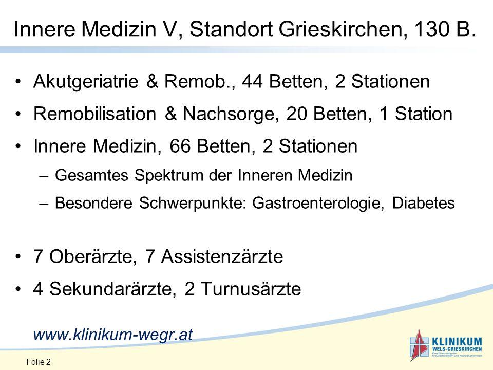 Folie 2 Innere Medizin V, Standort Grieskirchen, 130 B.