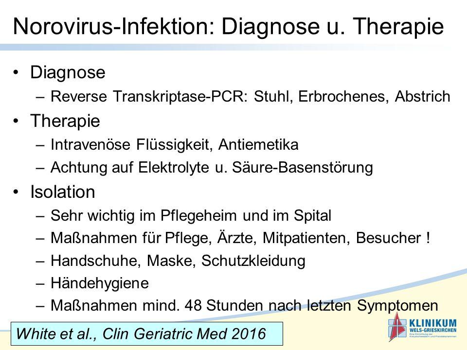 Diagnose –Reverse Transkriptase-PCR: Stuhl, Erbrochenes, Abstrich Therapie –Intravenöse Flüssigkeit, Antiemetika –Achtung auf Elektrolyte u.