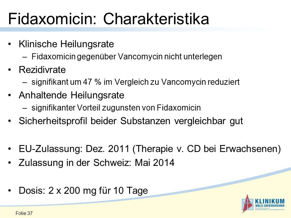 Klinische Heilungsrate –Fidaxomicin gegenüber Vancomycin nicht unterlegen Rezidivrate –signifikant um 47 % im Vergleich zu Vancomycin reduziert Anhaltende Heilungsrate –signifikanter Vorteil zugunsten von Fidaxomicin Sicherheitsprofil beider Substanzen vergleichbar gut EU-Zulassung: Dez.