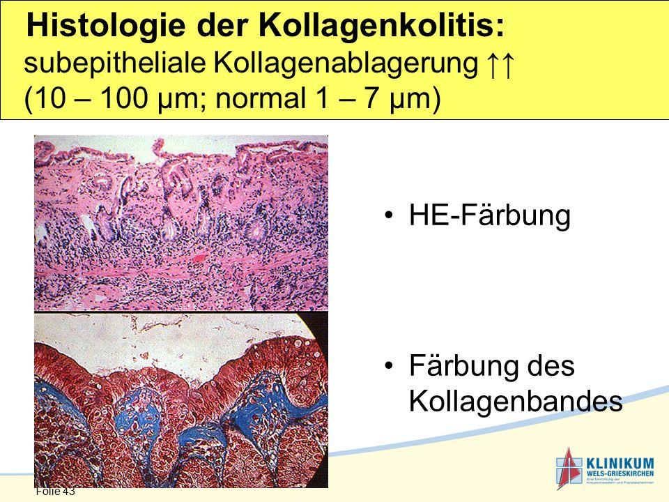 Folie 43 HE-Färbung Färbung des Kollagenbandes Histologie der Kollagenkolitis: subepitheliale Kollagenablagerung ↑↑ (10 – 100 µm; normal 1 – 7 µm)