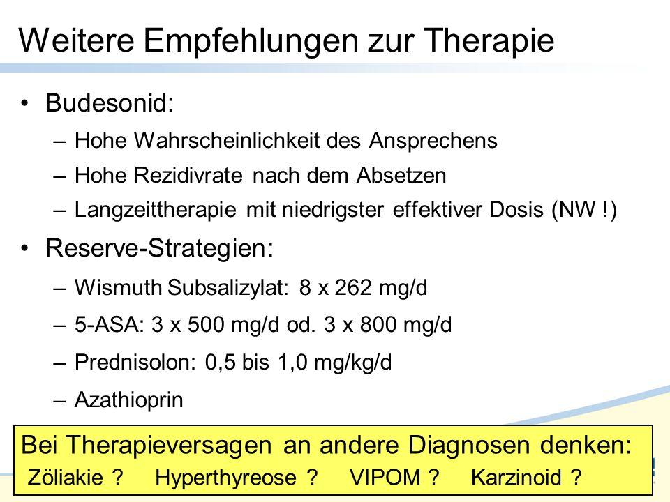 Folie 49 Budesonid: –Hohe Wahrscheinlichkeit des Ansprechens –Hohe Rezidivrate nach dem Absetzen –Langzeittherapie mit niedrigster effektiver Dosis (NW !) Reserve-Strategien: –Wismuth Subsalizylat: 8 x 262 mg/d –5-ASA: 3 x 500 mg/d od.