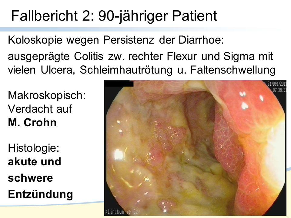 Koloskopie wegen Persistenz der Diarrhoe: ausgeprägte Colitis zw.
