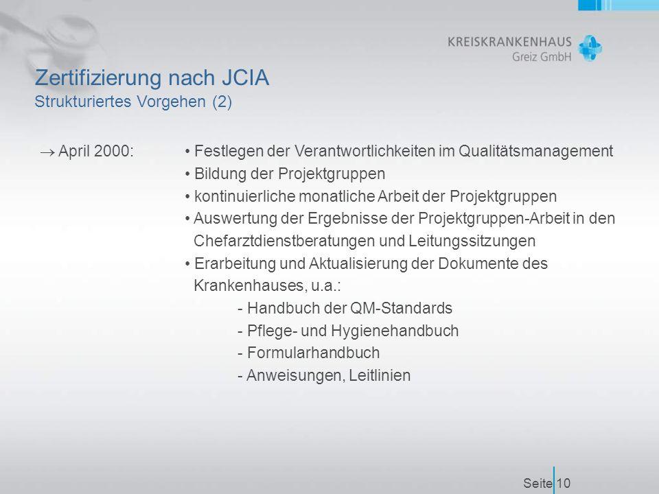 Seite10 Zertifizierung nach JCIA  April 2000: Festlegen der Verantwortlichkeiten im Qualitätsmanagement Bildung der Projektgruppen kontinuierliche monatliche Arbeit der Projektgruppen Auswertung der Ergebnisse der Projektgruppen-Arbeit in den Chefarztdienstberatungen und Leitungssitzungen Erarbeitung und Aktualisierung der Dokumente des Krankenhauses, u.a.: - Handbuch der QM-Standards - Pflege- und Hygienehandbuch - Formularhandbuch - Anweisungen, Leitlinien Strukturiertes Vorgehen (2)