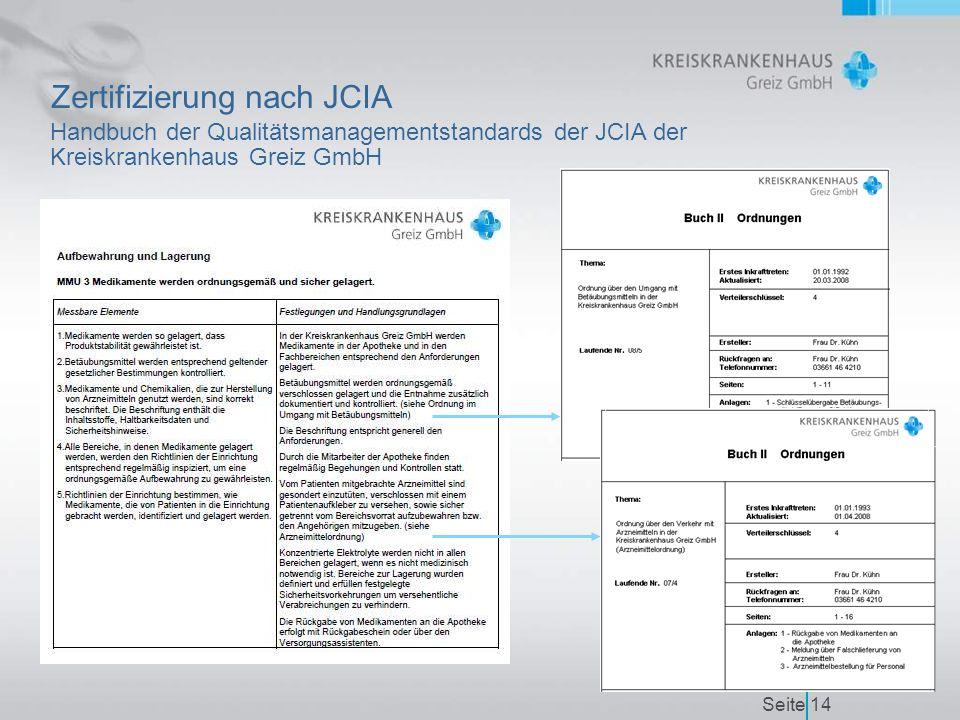 Seite14 Zertifizierung nach JCIA Handbuch der Qualitätsmanagementstandards der JCIA der Kreiskrankenhaus Greiz GmbH