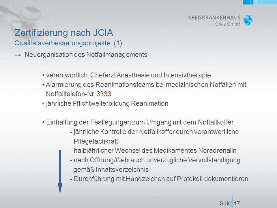 Seite17 Zertifizierung nach JCIA Qualitätsverbesserungsprojekte (1)  Neuorganisation des Notfallmanagements verantwortlich: Chefarzt Anästhesie und Intensivtherapie Alarmierung des Reanimationsteams bei medizinischen Notfällen mit Notfalltelefon-Nr.