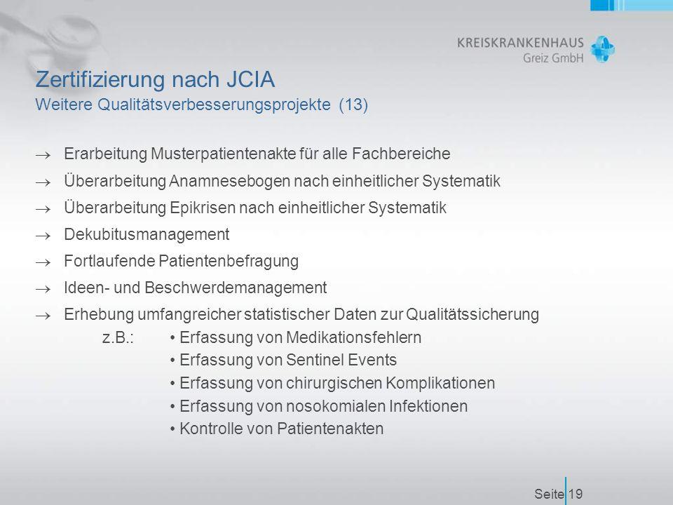 Seite19 Zertifizierung nach JCIA Weitere Qualitätsverbesserungsprojekte (13)  Erarbeitung Musterpatientenakte für alle Fachbereiche  Überarbeitung Anamnesebogen nach einheitlicher Systematik  Überarbeitung Epikrisen nach einheitlicher Systematik  Dekubitusmanagement  Fortlaufende Patientenbefragung  Ideen- und Beschwerdemanagement  Erhebung umfangreicher statistischer Daten zur Qualitätssicherung z.B.: Erfassung von Medikationsfehlern Erfassung von Sentinel Events Erfassung von chirurgischen Komplikationen Erfassung von nosokomialen Infektionen Kontrolle von Patientenakten