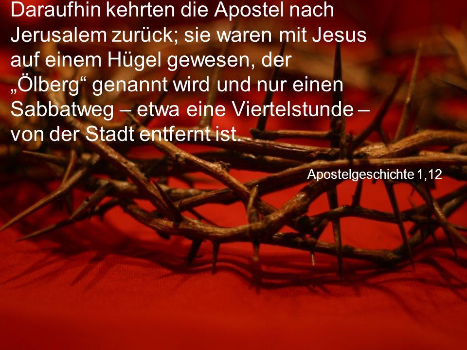 """Apostelgeschichte 1,12 Daraufhin kehrten die Apostel nach Jerusalem zurück; sie waren mit Jesus auf einem Hügel gewesen, der """"Ölberg"""" genannt wird und"""