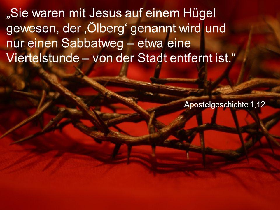 """Apostelgeschichte 1,12 """"Sie waren mit Jesus auf einem Hügel gewesen, der 'Ölberg' genannt wird und nur einen Sabbatweg – etwa eine Viertelstunde – von der Stadt entfernt ist."""