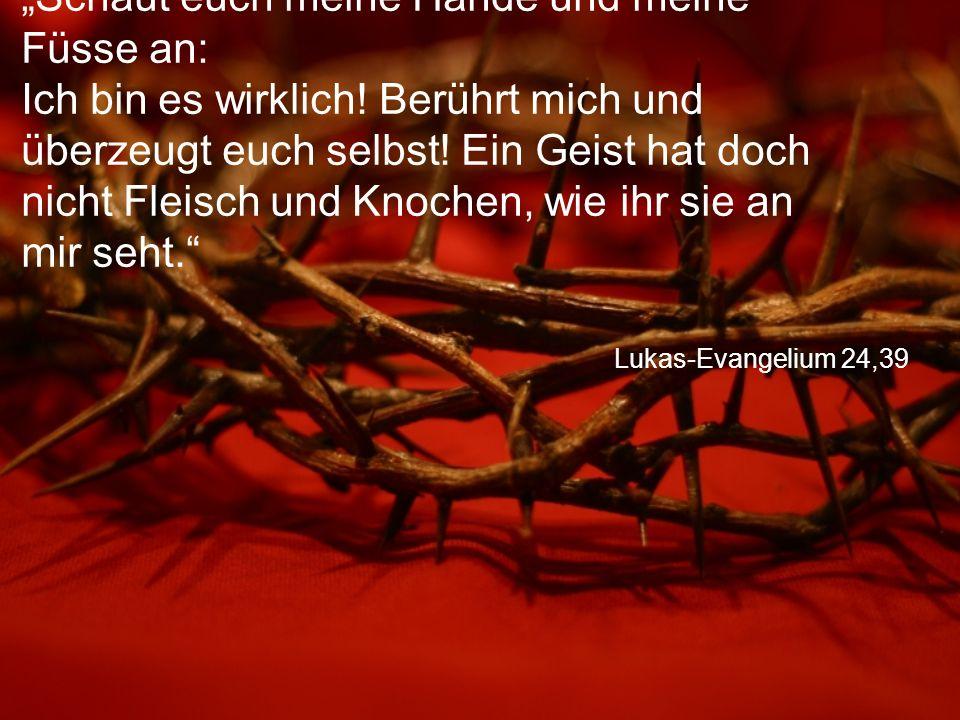 """Lukas-Evangelium 24,39 """"Schaut euch meine Hände und meine Füsse an: Ich bin es wirklich! Berührt mich und überzeugt euch selbst! Ein Geist hat doch ni"""