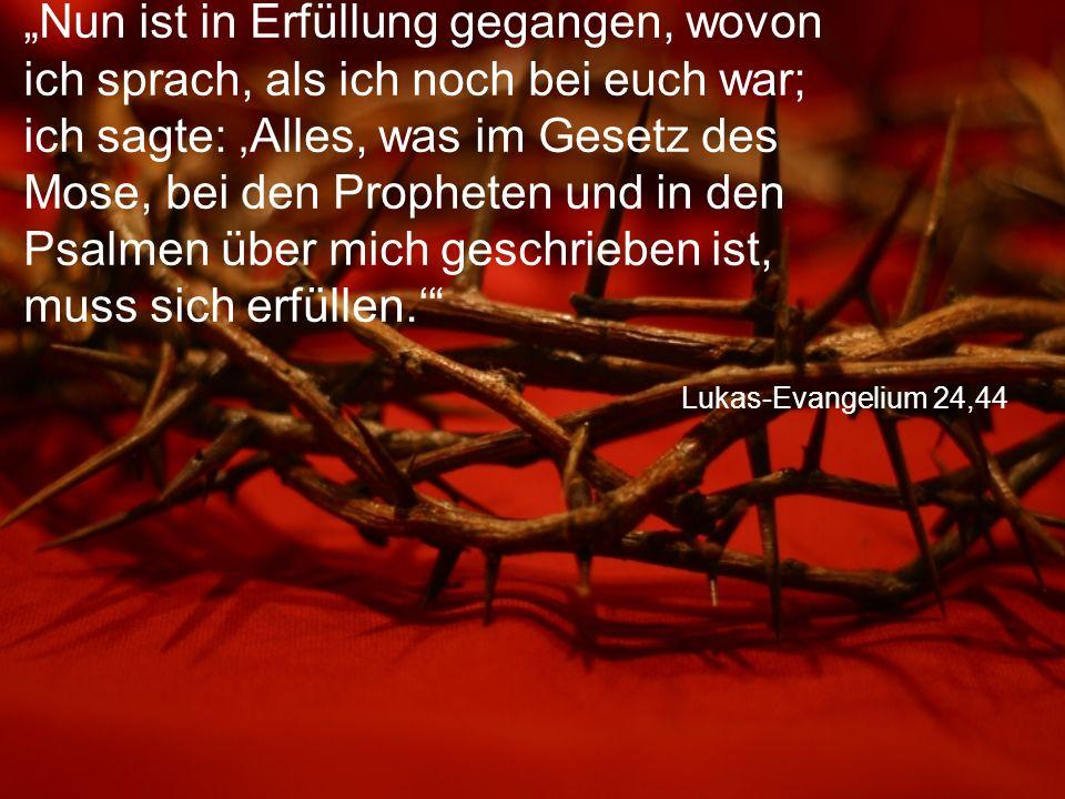 """Lukas-Evangelium 24,44 """"Nun ist in Erfüllung gegangen, wovon ich sprach, als ich noch bei euch war; ich sagte: 'Alles, was im Gesetz des Mose, bei den"""