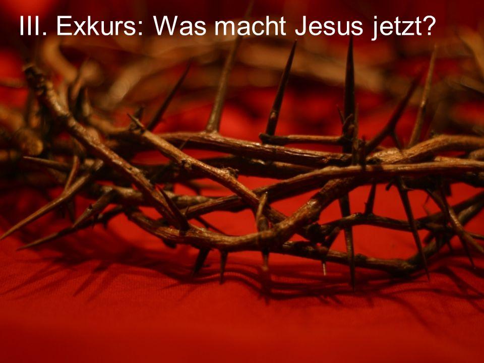 III. Exkurs: Was macht Jesus jetzt?