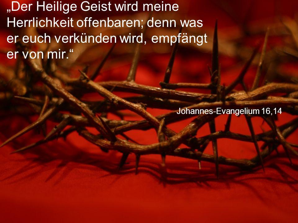 """Johannes-Evangelium 16,14 """"Der Heilige Geist wird meine Herrlichkeit offenbaren; denn was er euch verkünden wird, empfängt er von mir."""
