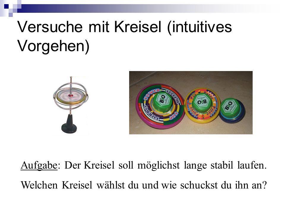 Versuche mit Kreisel (intuitives Vorgehen) Aufgabe: Der Kreisel soll möglichst lange stabil laufen.
