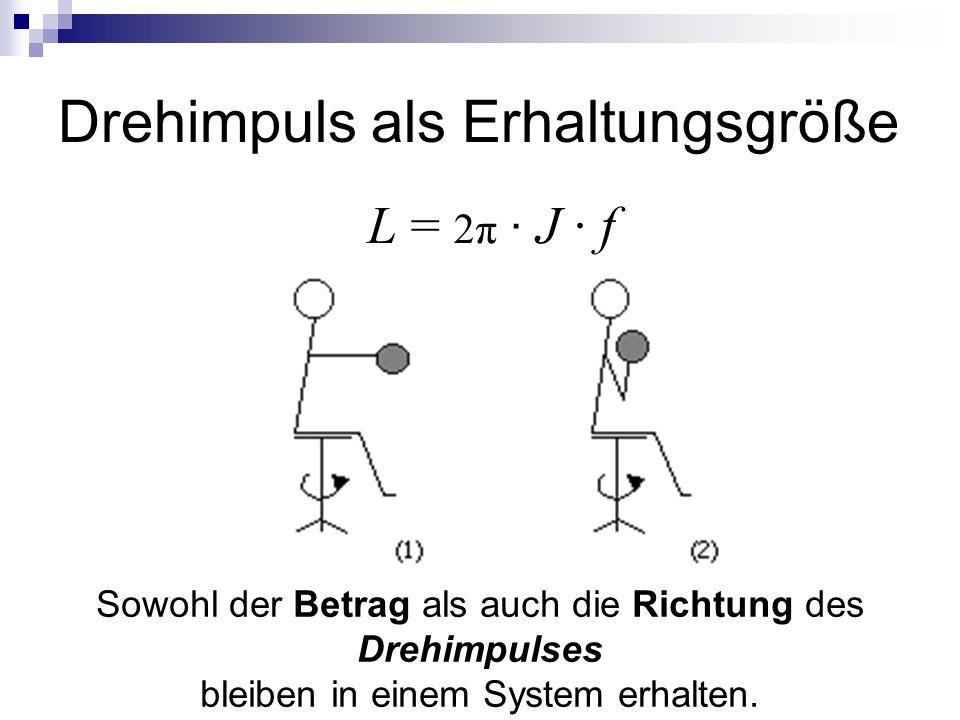 Drehimpuls als Erhaltungsgröße L = 2π ∙ J ∙ f Sowohl der Betrag als auch die Richtung des Drehimpulses bleiben in einem System erhalten.