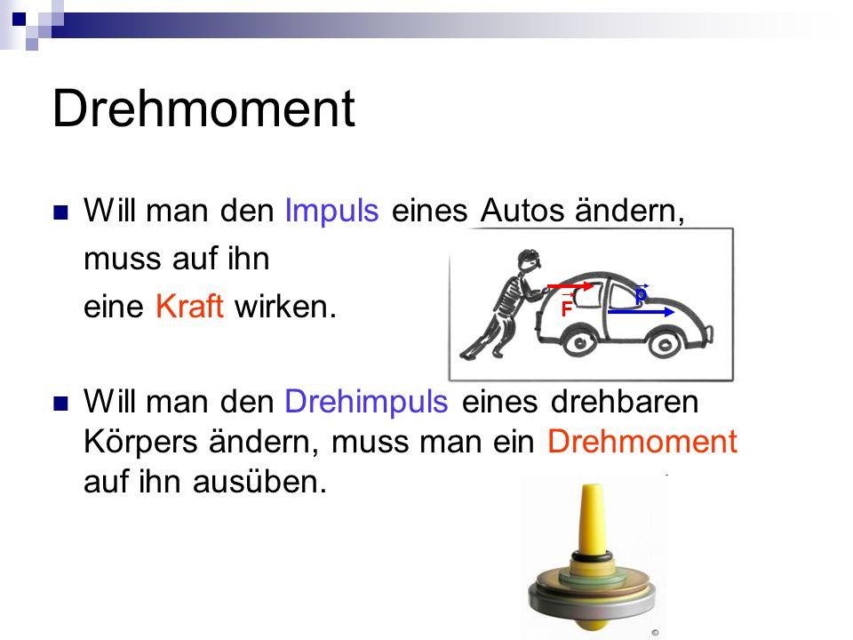 Drehmoment Will man den Impuls eines Autos ändern, muss auf ihn eine Kraft wirken.