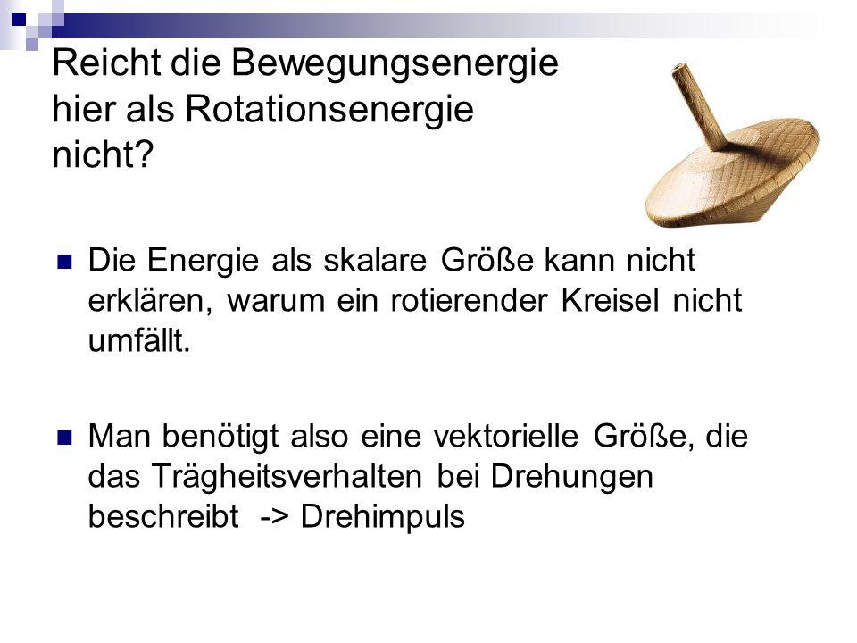 Reicht die Bewegungsenergie hier als Rotationsenergie nicht.