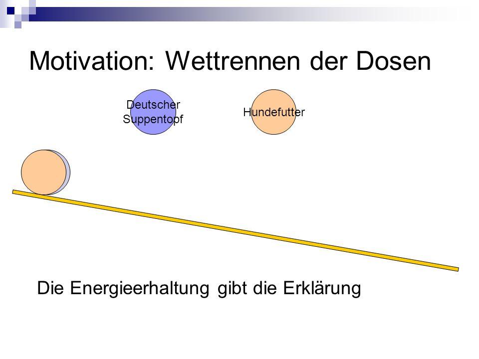 Motivation: Wettrennen der Dosen Deutscher Suppentopf Hundefutter Die Energieerhaltung gibt die Erklärung