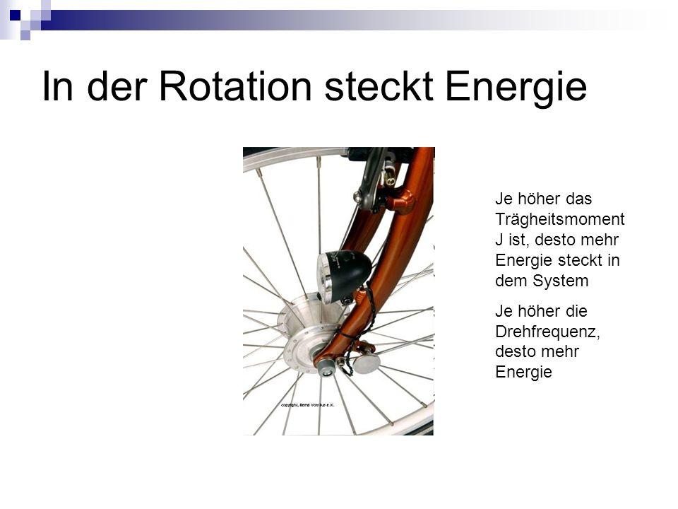 In der Rotation steckt Energie Je höher das Trägheitsmoment J ist, desto mehr Energie steckt in dem System Je höher die Drehfrequenz, desto mehr Energie