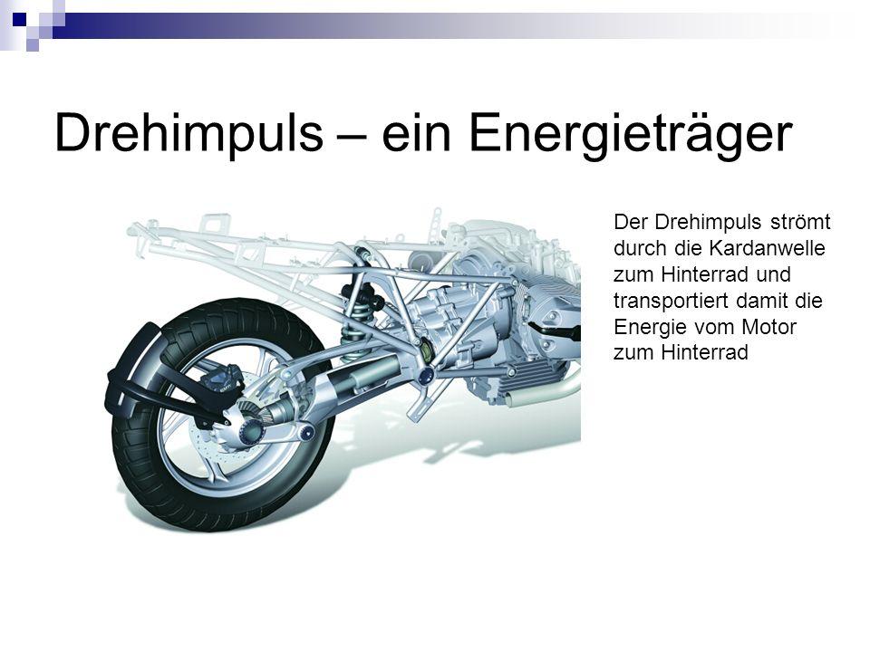 Drehimpuls – ein Energieträger Der Drehimpuls strömt durch die Kardanwelle zum Hinterrad und transportiert damit die Energie vom Motor zum Hinterrad