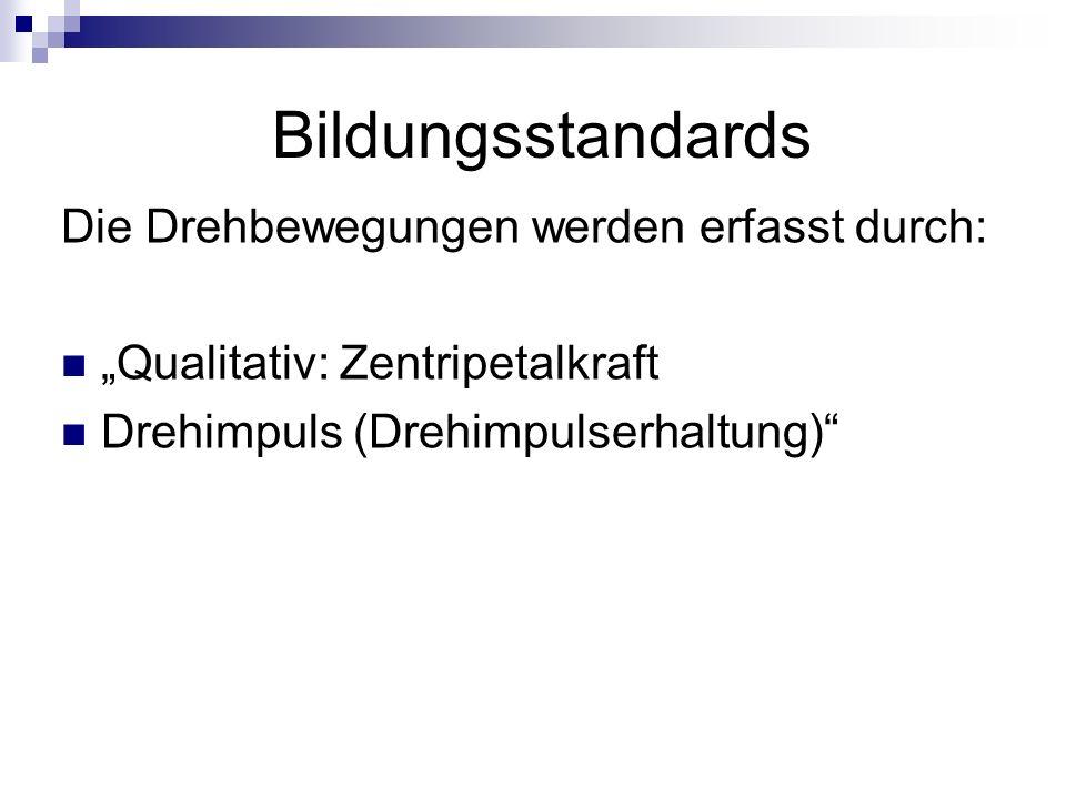 """Bildungsstandards Die Drehbewegungen werden erfasst durch: """"Qualitativ: Zentripetalkraft Drehimpuls (Drehimpulserhaltung)"""