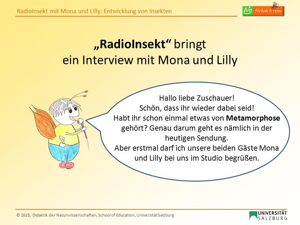 """RadioInsekt mit Mona und Lilly: Entwicklung von Insekten © 2015, Didaktik der Naturwissenschaften, School of Education, Universität Salzburg """"RadioIns"""