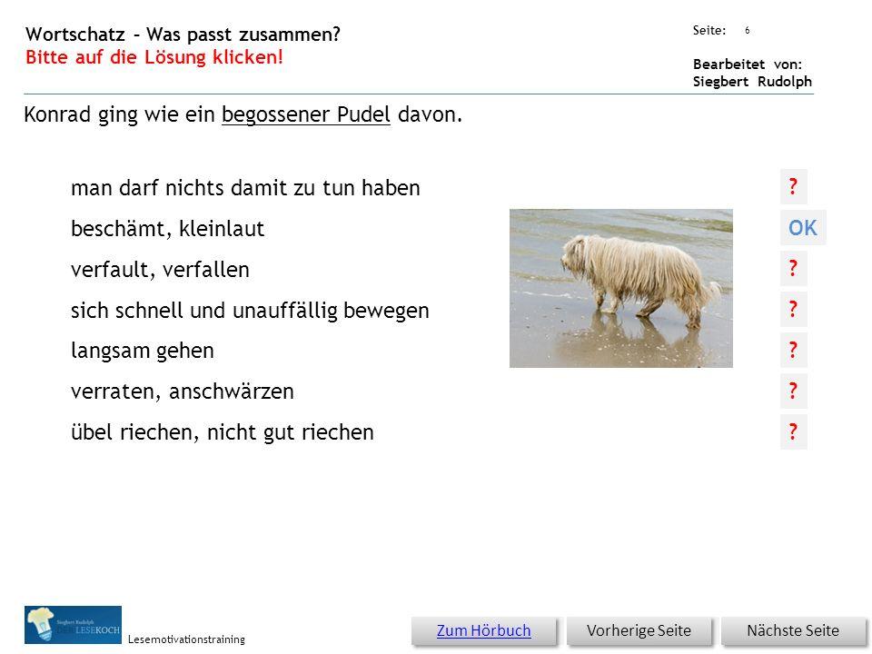 Übungsart: Seite: Bearbeitet von: Siegbert Rudolph Lesemotivationstraining 5 Wortschatz – Was passt zusammen? Bitte auf die Lösung klicken! Nächste Se
