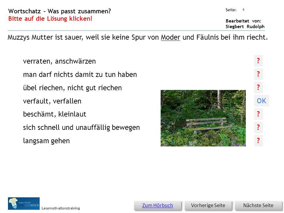 Übungsart: Seite: Bearbeitet von: Siegbert Rudolph Lesemotivationstraining 8 Wortschatz – Was passt zusammen? Bitte auf die Lösung klicken! Nächste Se
