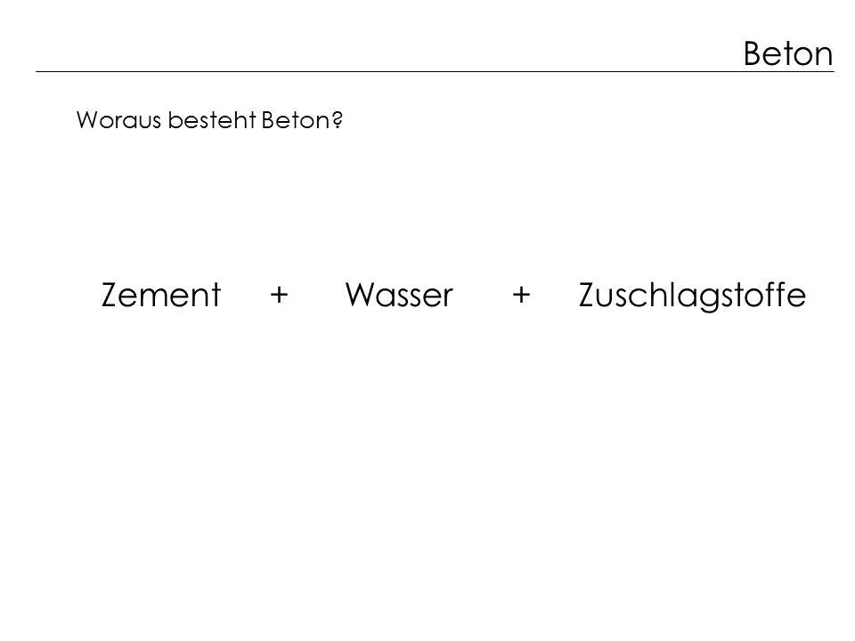 Beton Zement + Wasser + Zuschlagstoffe Woraus besteht Beton?