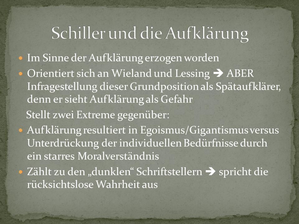 Im Sinne der Aufklärung erzogen worden Orientiert sich an Wieland und Lessing  ABER Infragestellung dieser Grundposition als Spätaufklärer, denn er s