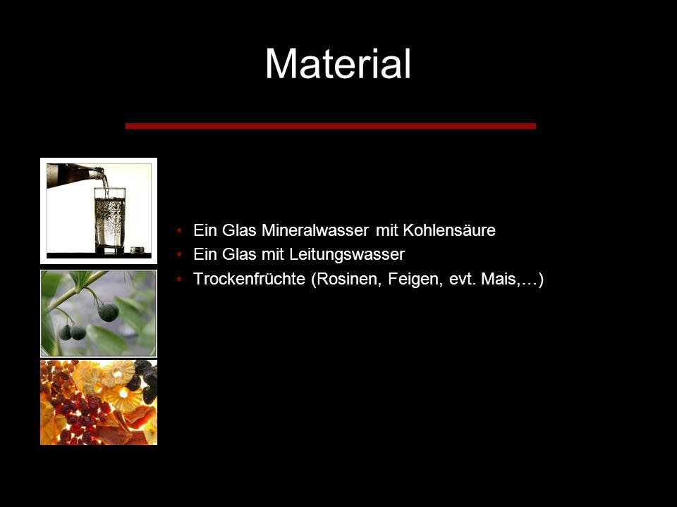 Material Ein Glas Mineralwasser mit Kohlensäure Ein Glas mit Leitungswasser Trockenfrüchte (Rosinen, Feigen, evt.