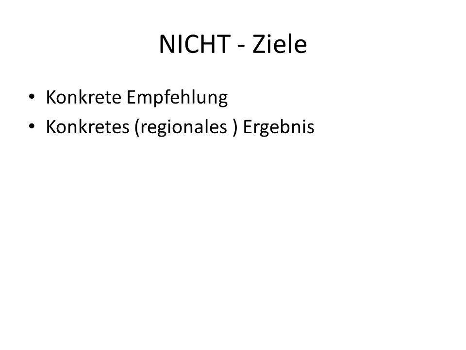 NICHT - Ziele Konkrete Empfehlung Konkretes (regionales ) Ergebnis